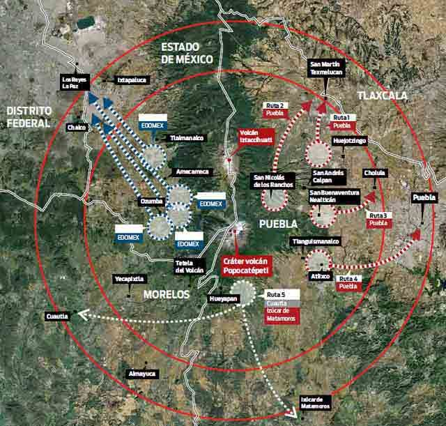 Popocatepetl Volcano: the planned evacuation routes