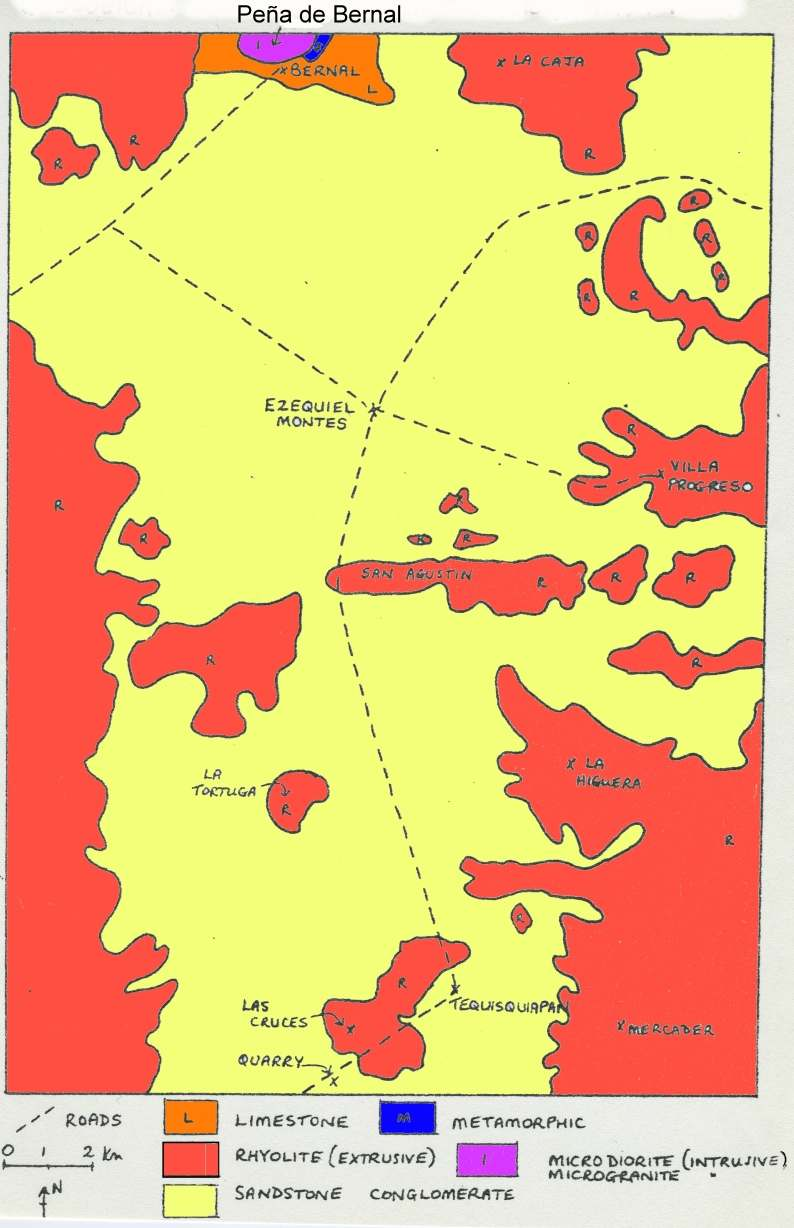 Sketch map, Geology of the Tequisquiapan area