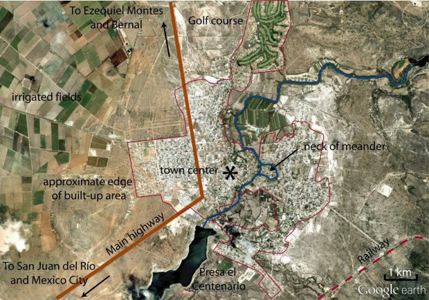 Annotated Google Earth image of Tequisquiapan area