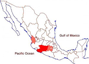 Avocado-growing states in Mexico.