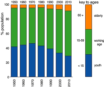 Mexico's population structure, 1970-2010