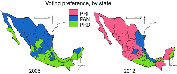 Voting patterns in presidential elections, 2006 and 2012