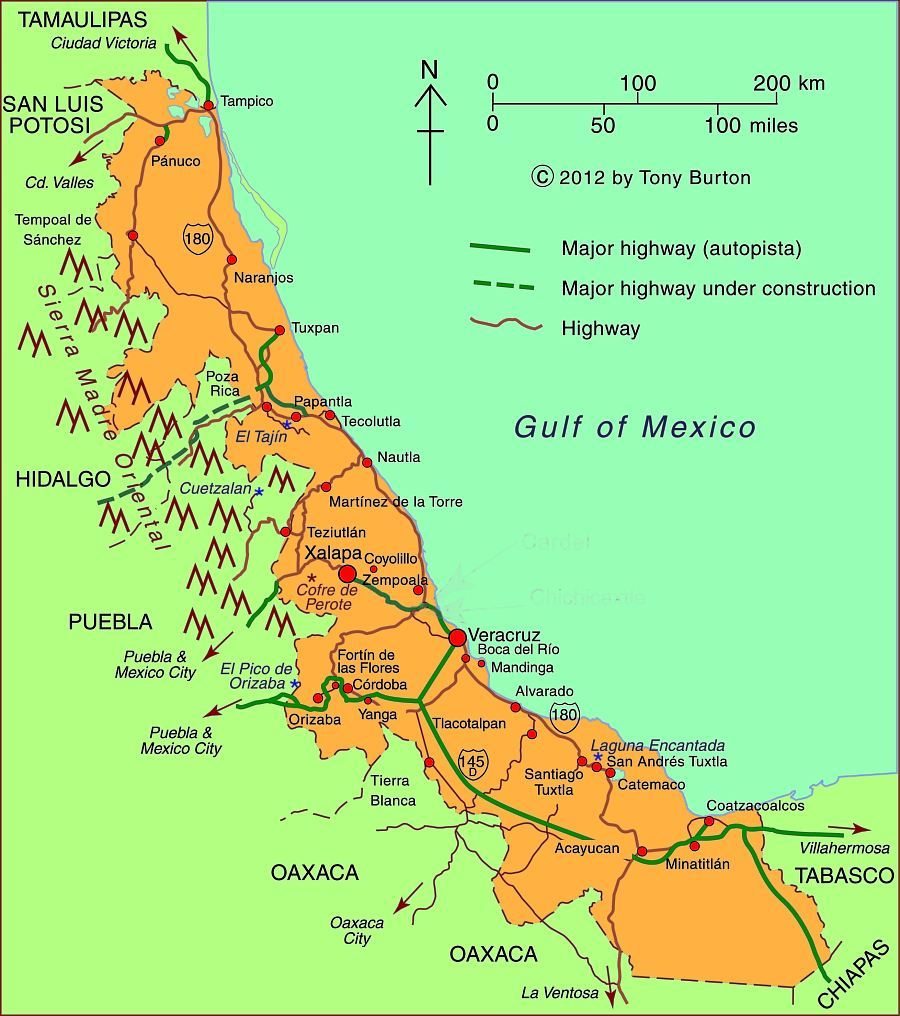 Map of Veracruz state, Mexico; all rights reserved.