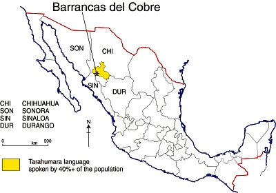 Location of Barrancas del Cobre (Copper Canyon region)