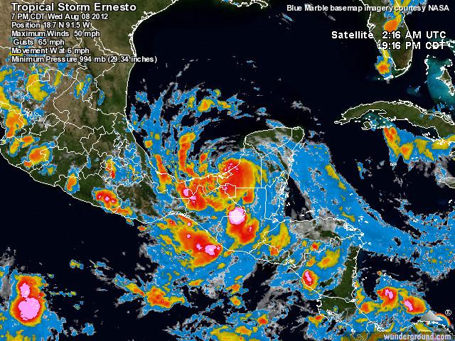 Hurricane Ernesto, 8 August 2012. Credit: wunderground.com