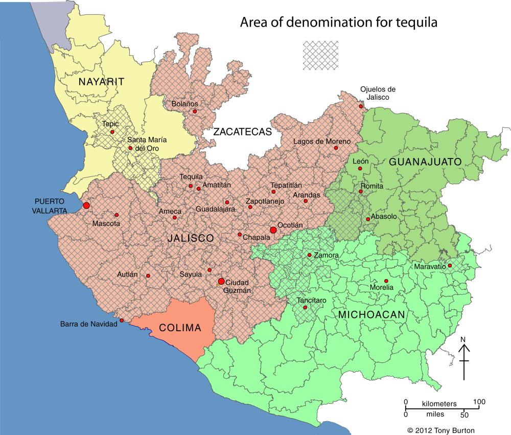 Tequila producing areas of Jalisco and neighboring states.