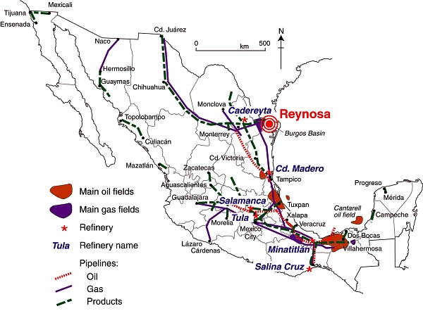 Pemex installations in Mexico. (Adapted from Fig 15.5 of Geo-Mexico). All rights reserved.