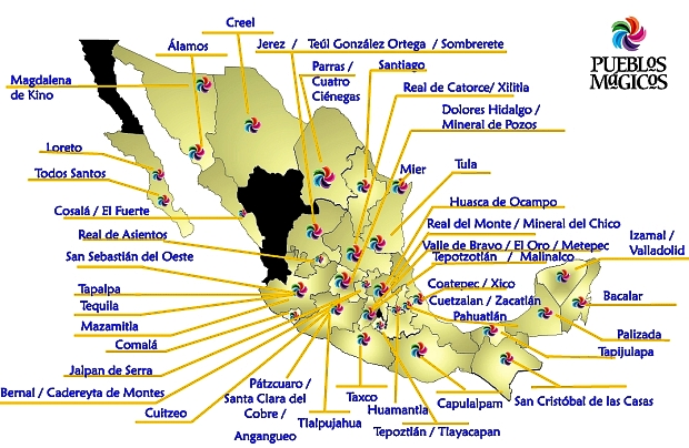 Map of Mexico's 57 Magic Towns (September 2012). Credit: Sectur