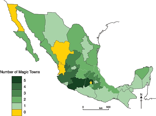 Mexico's Magic Towns, by state (September 2012)