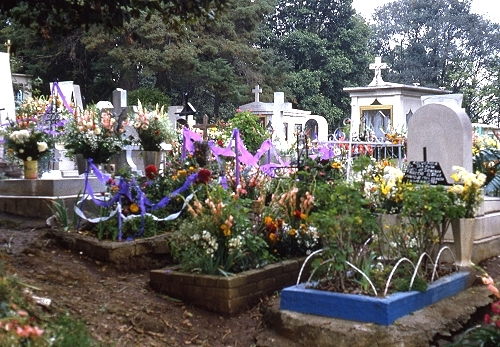 Children's graves on Day of the Dead in Santa Rosa Xochiac, Mexico D.F. Photo: Tony Burton; all rights reserved.