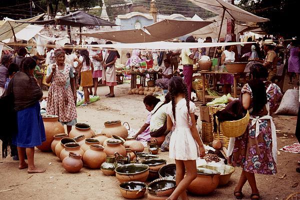 Ceramic items in a Oaxaca street market. Photo: Tony Burton