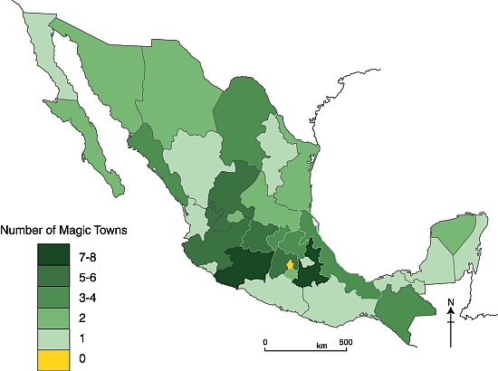 Mexico's Magic Towns, as of 1 December 2012. Credit: Tony Burton / Geo-Mexico
