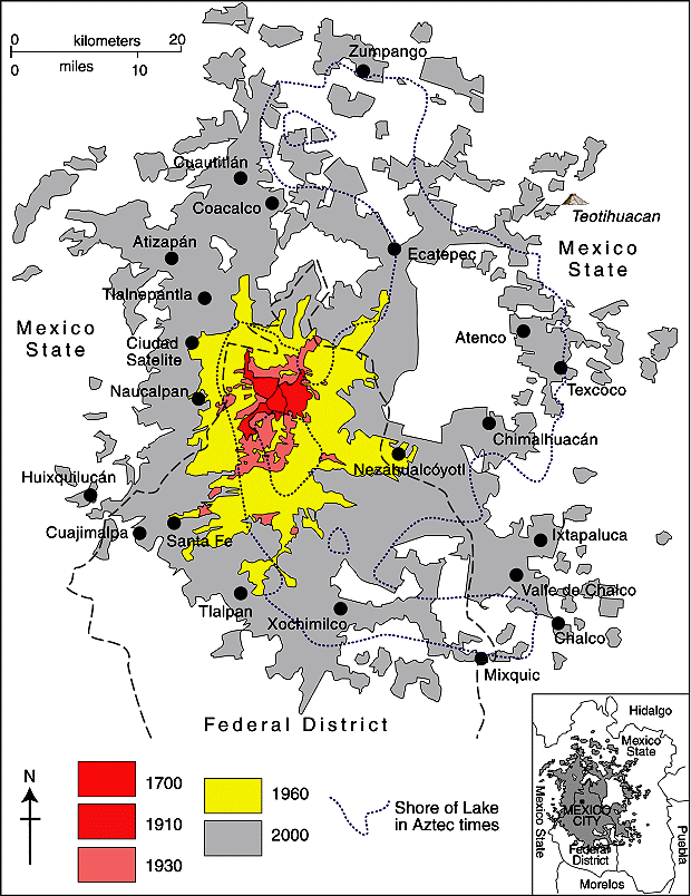map extends well beyond the borders of the federal district mexico city proper into neighboring states especially the state of mexico