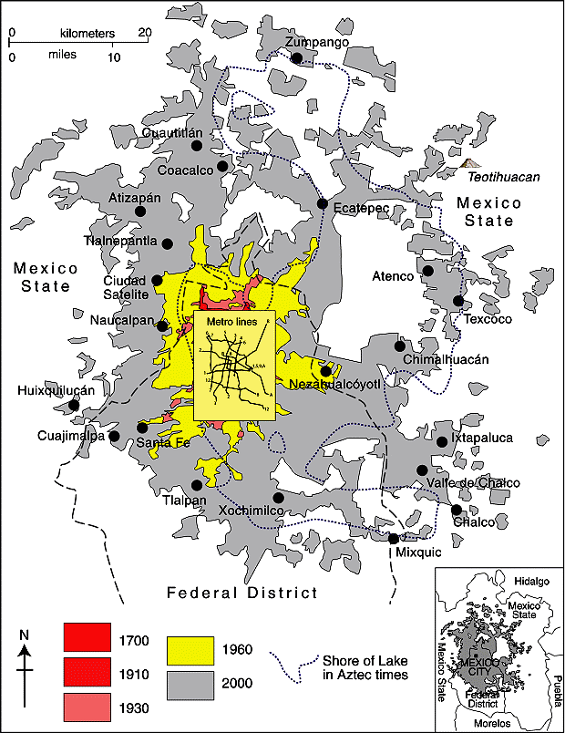 Spatial growth of Mexico City Metropolitan Area (based on Geo-Mexico Fig 22.2; all rights reserved)