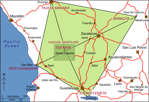 Map of the sacred geography of Mexico's Huichol Indians