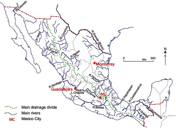 Fig 6-3 of Geo-Mexico: Rivers of Mexico