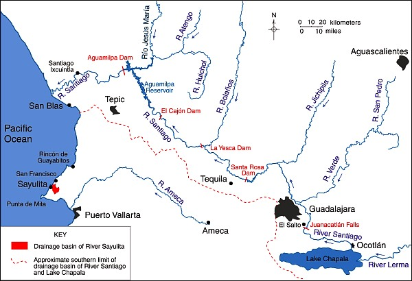 Main rivers of Western Mexico.