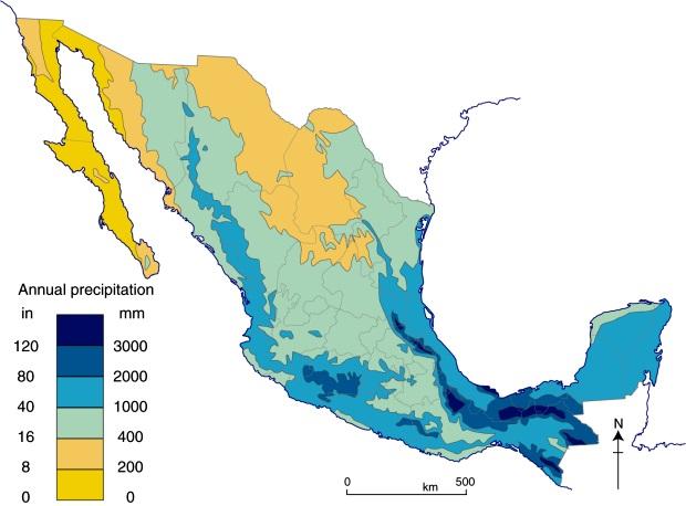 Annual precipitation in Mexico (Fig .4.3 of Geo-Mexico)