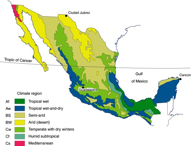 Major climate regions in Mexico. (Fig 4-5 of Geo-Mexico, the geography and dynamics of modern Mexico). All rights reserved.