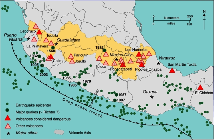 Mexico's Volcanic Axis (Fig 2.2 of Geo-Mexico, the geography and dynamics of modern Mexico. All rights reserved.