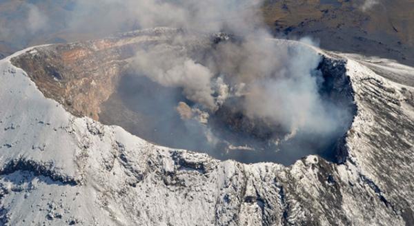 Lava dome building in crater of Popocatapetl Volcano