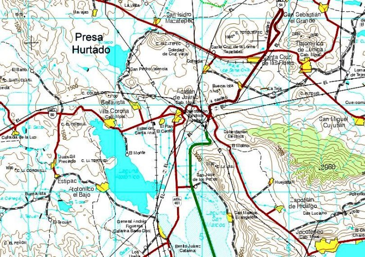 Location of Hurtado Reservoir (extract from INEGI 1:250,000 map)