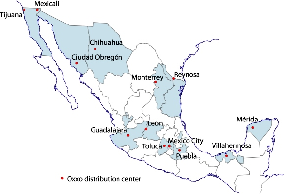 Cities with Oxxo Distribution Centers. Credit: Tony Burton/Geo-Mexico