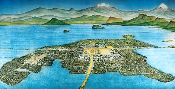 Artist's view of the Aztec capital Tenochititlan in the Valley of Mexico