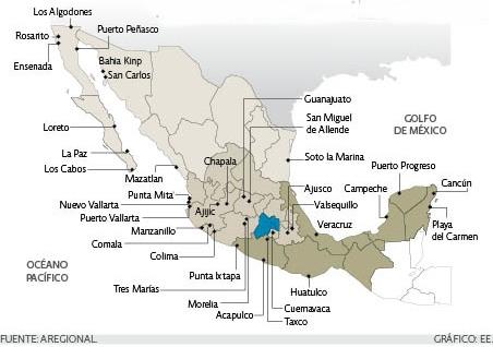 Locations of retiree real estate developments. Credit: Aregional