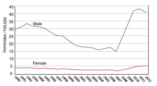 Trends in homicide rate, 1990-2012 (Data: INEGI)