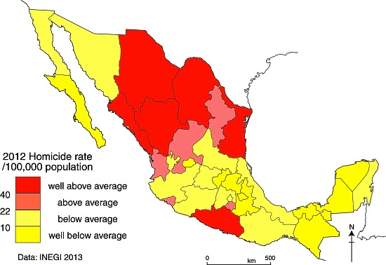 Map of homicide rates in Mexico, 2012, Credit: Tony Burton/ Geo-Mexico