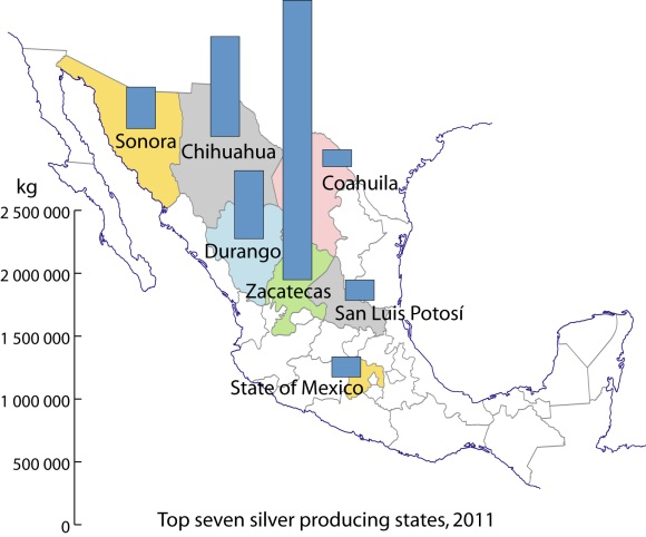 Silver production in Mexico, 2011. Data: INEGI. Credit: Tony Burton/Geo-Mexico