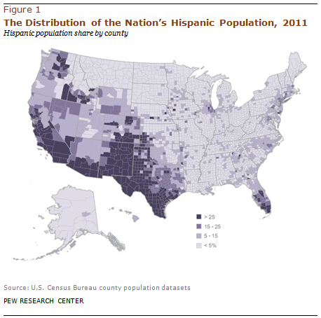 Map of Hispanic population in USA