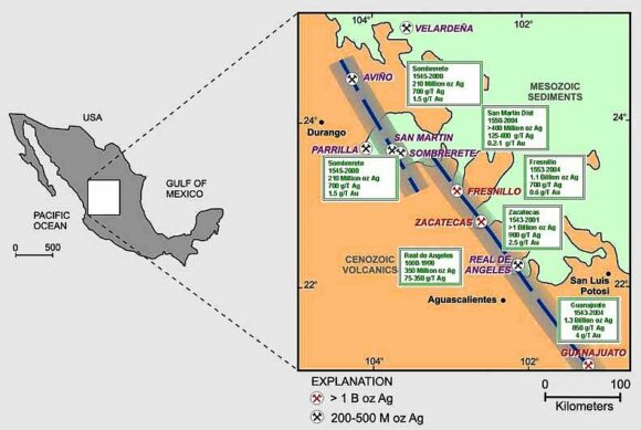 Location of mining districts near Fresnillo. Credit: 321gold.com