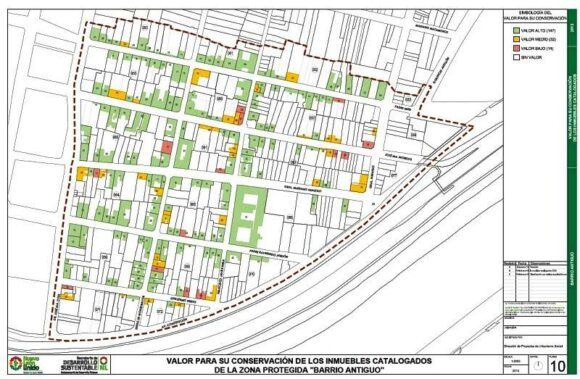 Conservation value of buildings in Barrio Antiguo, Monterrey
