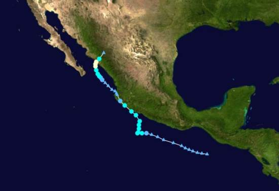Track of Hurricane Manuel