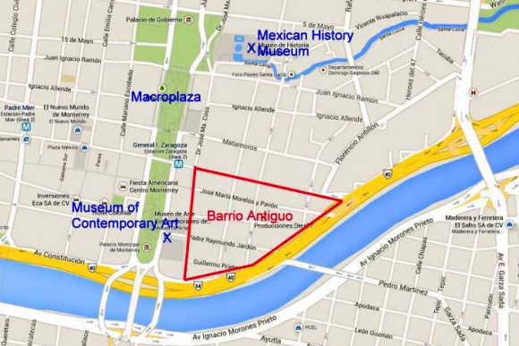 Location of Barrio Antiguo, Monterrey.