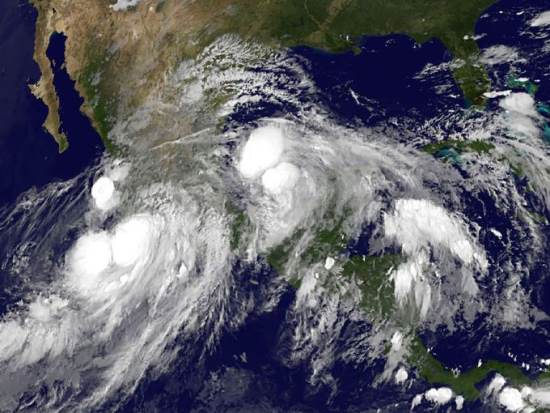 Satellite image of Hurricane Ingrid and Hurricane Manuel, September 2013