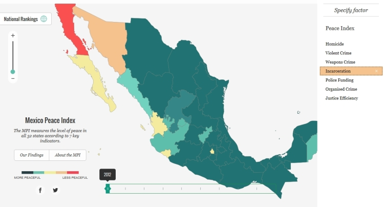Incarceration rate in Mexico, 2012