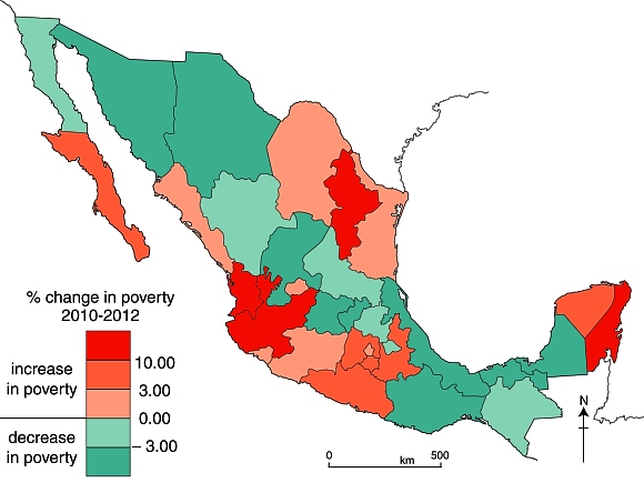 Change in poverty rates in Mexico, 2010-2012.