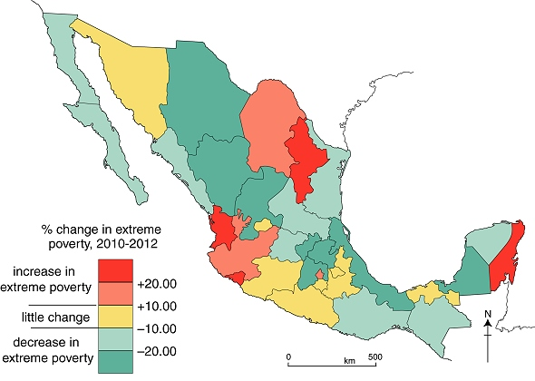 Changes in levels of extreme poverty in Mexico, 2010-2012.