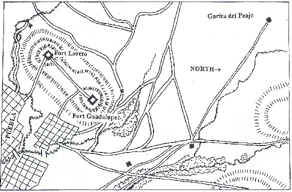 Map of Battle of Puebla