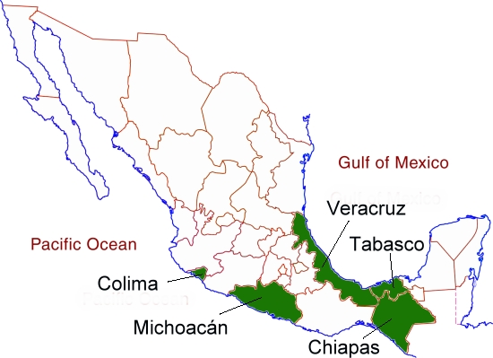 Mexico's main banana growing states