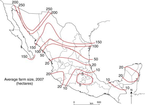 Average farm size in Mexico
