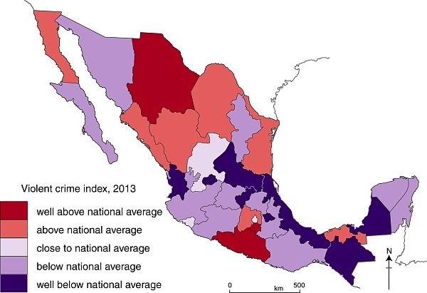 The pattern of violent crimes in Mexico in 2013 GeoMexico the
