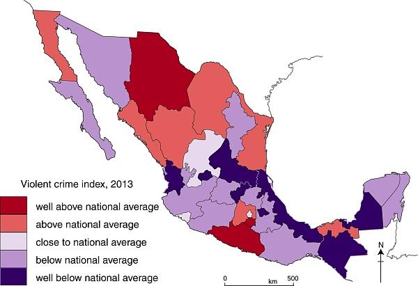 Map of Violent crime index, 2013