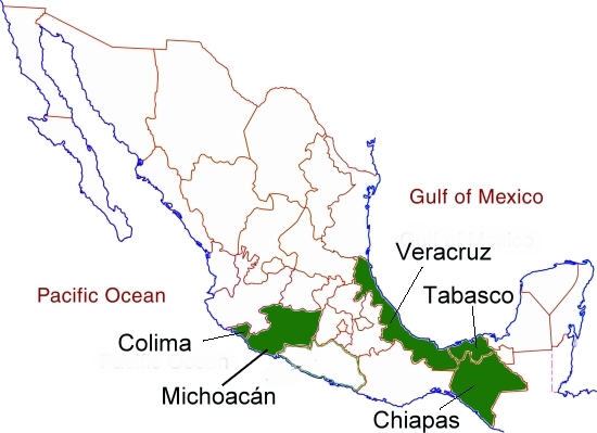 Mexico's banana-growing states