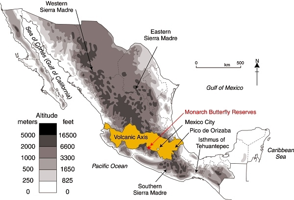 Location of Volcanic Axis and Monarch Butterfly reserves