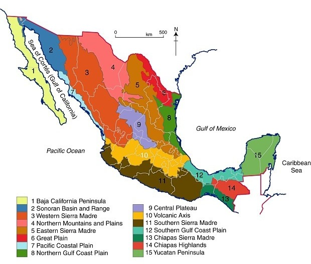 Mexicos 15 physiographic regions GeoMexico the geography of Mexico