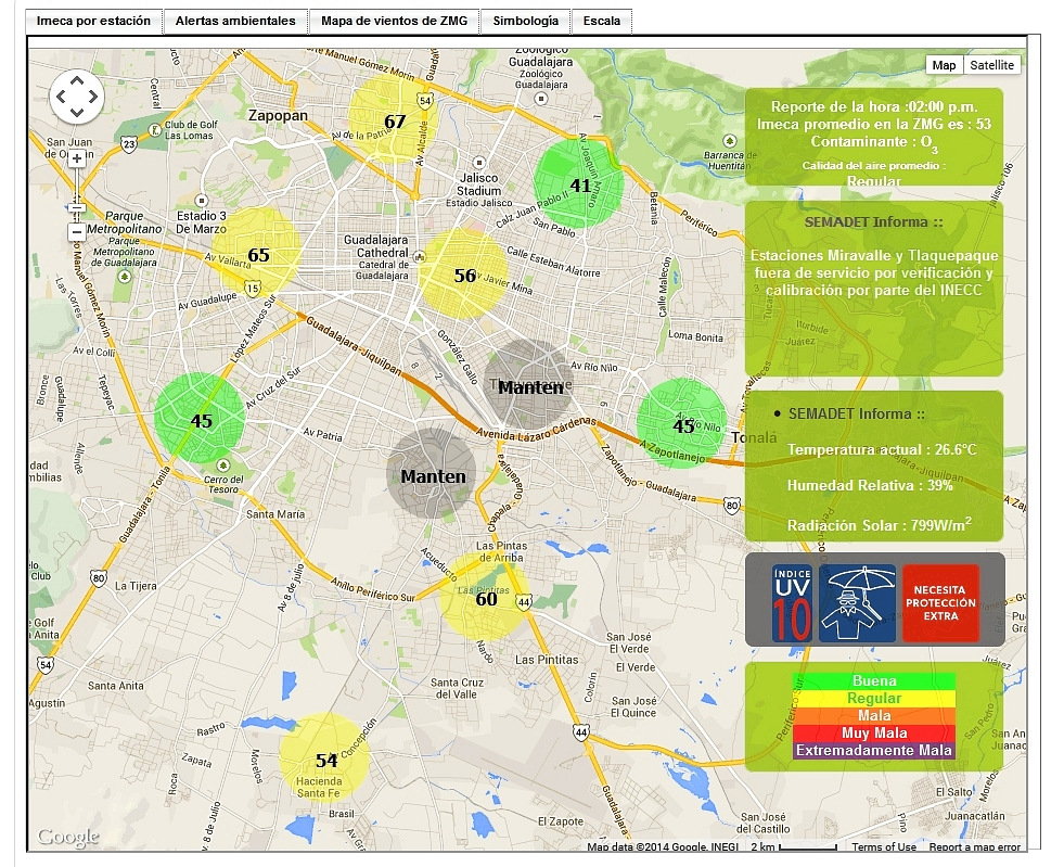 Screenshot of Guadalajara air monitoring webpage